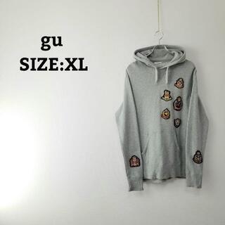 ジーユー(GU)のgu パーカー スウェット XL グレー 灰色 プルオーバー ワッペン(パーカー)
