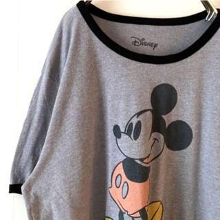 ディズニー(Disney)のDisney ディズニー ミッキーマウス Tシャツ グレー灰色 2X 古着(Tシャツ/カットソー(半袖/袖なし))