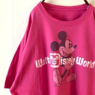 ディズニー(Disney)のDisney ディズニー ミッキーマウス Tシャツ ピンク 2XL 古着(Tシャツ/カットソー(半袖/袖なし))