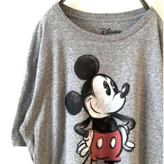 ディズニー(Disney)のDisney ディズニー ミッキー Tシャツ グレー XL 古着(Tシャツ/カットソー(半袖/袖なし))