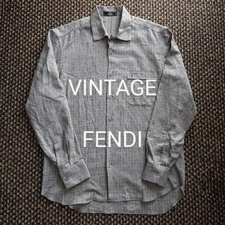 FENDI - ビンテージ FENDI FFアイコン刺繍入りチェックシャツ プラダ グッチ