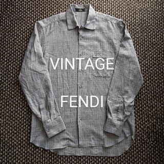 フェンディ(FENDI)のビンテージ FENDI FFアイコン刺繍入りチェックシャツ プラダ グッチ(シャツ)
