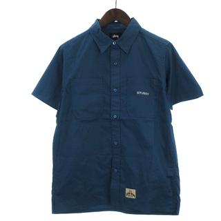 ステューシー(STUSSY)のステューシー ワークシャツ 半袖 胸ポケット バッグロゴ 刺繍 コットン 紺 S(シャツ)