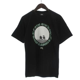 ステューシー(STUSSY)のステューシー Tシャツ 半袖 丸首 クルーネック プリント コットン 黒 S(Tシャツ/カットソー(半袖/袖なし))