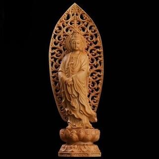 仏像 観音菩薩 透かし彫り 背景 風水 厄除け 守護(彫刻/オブジェ)