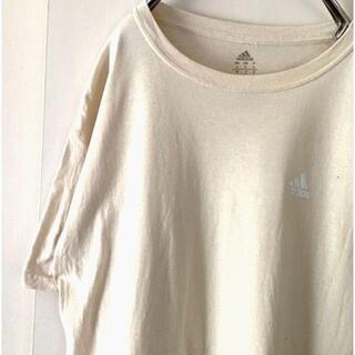 アディダス(adidas)のアディダス ワンポイント Tシャツ L ライトベージュ 古着(Tシャツ/カットソー(半袖/袖なし))