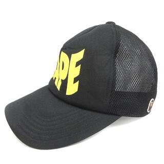 アベイシングエイプ(A BATHING APE)のアベイシングエイプ メッシュキャップ 帽子 ロゴプリント 黒 ブラック(その他)