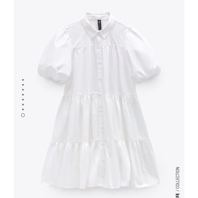 ZARA(ザラ)の【専用】ZARA パフスリーブ 白 ブラウス ティアード M レディースのトップス(シャツ/ブラウス(半袖/袖なし))の商品写真
