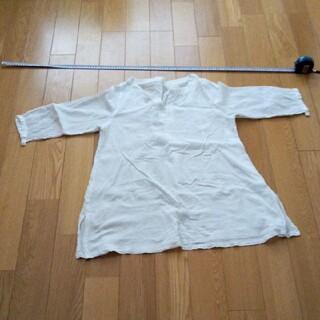 MUJI (無印良品) - 無印良品 七分袖ガーゼチュニック 白 L