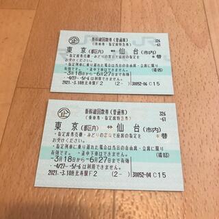 ジェイアール(JR)の東京 仙台 新幹線回数券 指定席(鉄道乗車券)