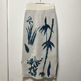 mame - Floral Double Jacquard Knit Skirt
