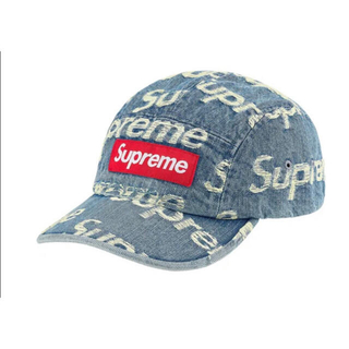Supreme - Supreme Frayed Logo Denim Camp Cap Blue