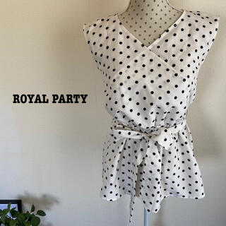 ROYAL PARTY - 【USED】ROYAL PARTY ドット柄リボンブラウス ホワイト