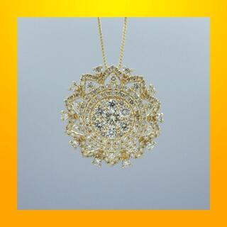 ダイヤモンド D1.40ct  k18 イエローゴールド デザイン ペンダント(ネックレス)