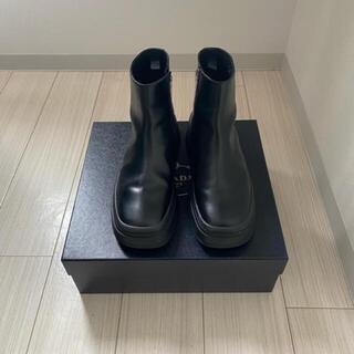 プラダ(PRADA)のprada black leather ankle boots 9.5 28.5(ブーツ)