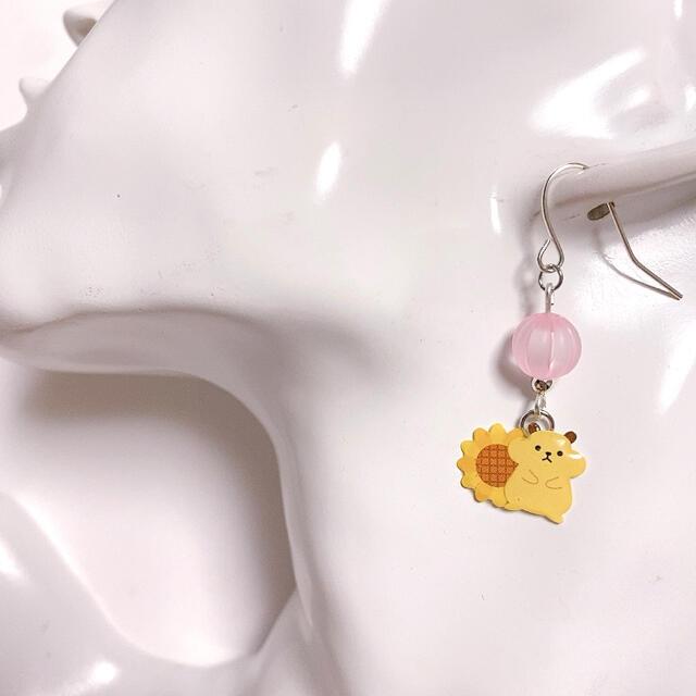 小ぶりで可愛い♩ ひまわりとハムちゃん ピアス・イヤリング③ ハンドメイドのアクセサリー(ピアス)の商品写真