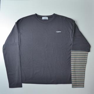 カーハート(carhartt)の新品 〈unlow〉ボーダーレイヤードロングスリーブT  チャコールグレー(Tシャツ/カットソー(七分/長袖))