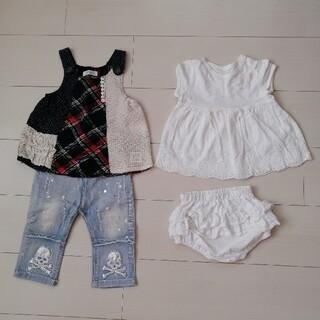 ニシマツヤ(西松屋)の子供半袖、ジンズ、ジャンパースカート、短パンセット 70cm.80cm(その他)