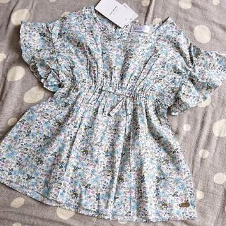 プティマイン(petit main)のしまむら a.v.v 肩フリルブラウス チュニック  size100(Tシャツ/カットソー)