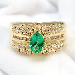 K18YG エメラルド 0.56 ダイヤモンド 0.54 リング 指輪