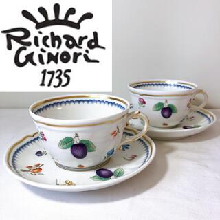 Richard Ginori - 未使用保管 リチャードジノリ イタリアンフルーツ カップ ソーサー 2客セット