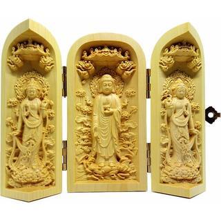 木彫仏像 彫刻 ツゲ (阿弥陀三尊 立) 阿弥陀如来 観音菩薩 勢至菩薩(彫刻/オブジェ)