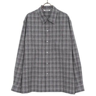 COMOLI - WASHABLE SUPER LIGHT WOOL CHECK SHIRTS