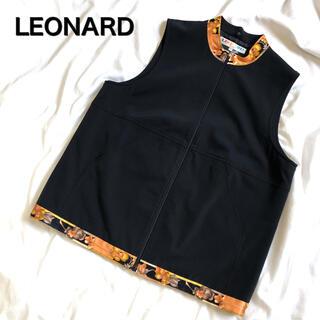 レオナール(LEONARD)のレオナール ベスト 花柄 大きいサイズ LL 黒 LEONARD 上品 高級(ベスト/ジレ)