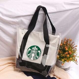 Starbucks Coffee - 【スターバックス】トートバッグ ビニールカバー   A4 収納可能 ブラック