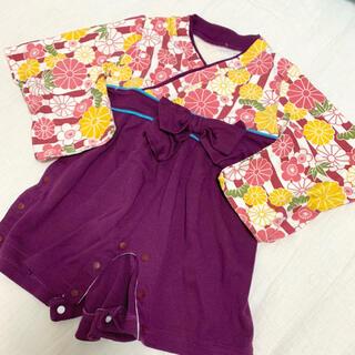 ヒロミチナカノ(HIROMICHI NAKANO)の袴ロンパース 女の子 紫ストライプに菊柄(和服/着物)