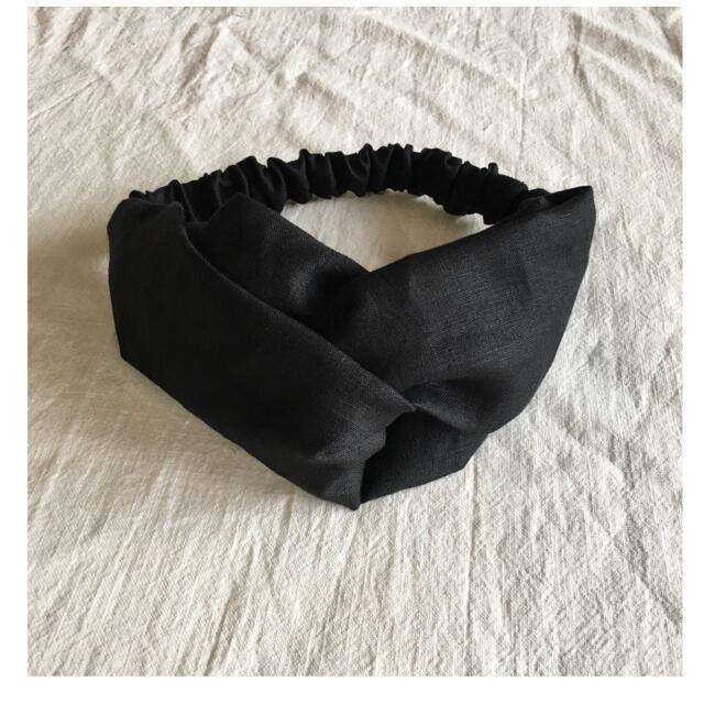 クロスターバン 黒リネン レディースのヘアアクセサリー(ヘアバンド)の商品写真