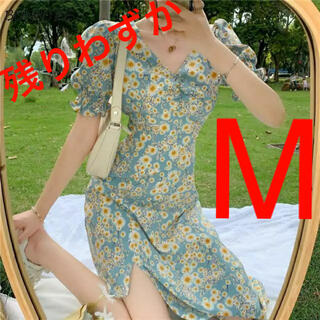 エブリン(evelyn)のフラワー Vネック 韓国ファッション ワンピース 花柄 グリーン 春 夏(ロングワンピース/マキシワンピース)