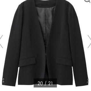 ジーユー(GU)の新品 GUジーユーノーカラージャケット 黒ブラック XL(ノーカラージャケット)
