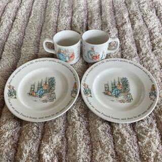 ウェッジウッド(WEDGWOOD)のウェッジウッド ピーターラビット20cmプレート2枚マグカップ2個セット (食器)