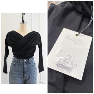 スナイデル(snidel)のAsymmetric Cotton-blend Jersey Top black(カットソー(長袖/七分))
