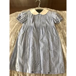 familiar - アトリエハナ 3〜4歳 薄いブルー 白襟ワンピース