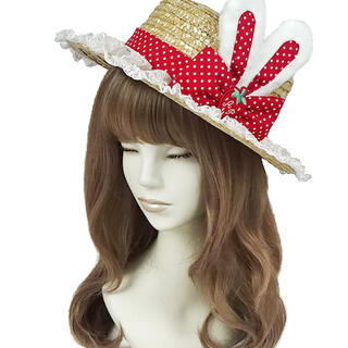 アンジェリックプリティー(Angelic Pretty)のLittle Bunny StrawberryストローHat アカ(麦わら帽子/ストローハット)