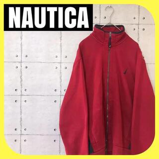 ノーティカ(NAUTICA)のnauticaノーティカ•フルジップパーカー•刺繍ロゴ•デカロゴ•レッド•M(スウェット)
