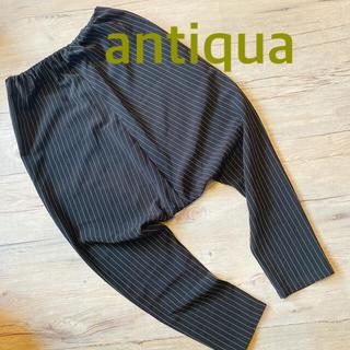 antiqua - 美品 アンティカ サルエルパンツ 黒ピンストライプ