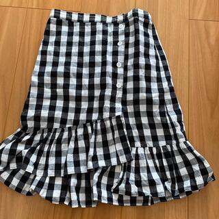 ギンガムチェックアシンメトリースカート☆140センチ(スカート)