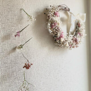 spring wreath+mobile【antiquewhite×pink】(リース)