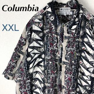 Columbia - コロンビア 半袖 総柄シャツ 柄シャツ マルチカラー 古着 ビッグシルエット.