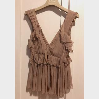 クロエ(Chloe)のChloe  シルク100% ローズピンク ノースリーブブラウス(シャツ/ブラウス(半袖/袖なし))