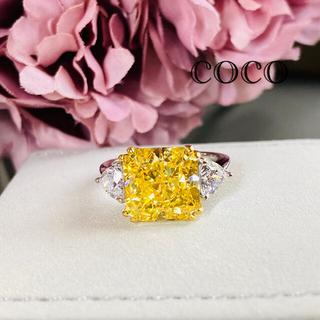 最高級人工ダイヤモンド イエローダイヤ リング