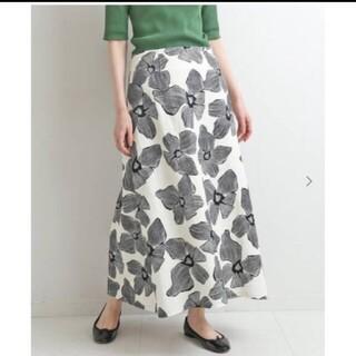 IENA - IENAモノトーンフラワー綿麻スカートサイズ38