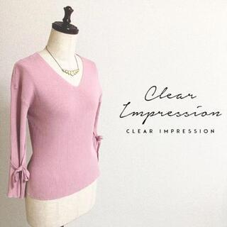 CLEAR IMPRESSION - CLEAR IMPRESSION☆春物Vネック2wayリブニット