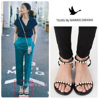 TSURU by Mariko Oikawa - 矢野未希子さん着★21SS新品 ツルバイマリコオイカワ パールサンダル 38
