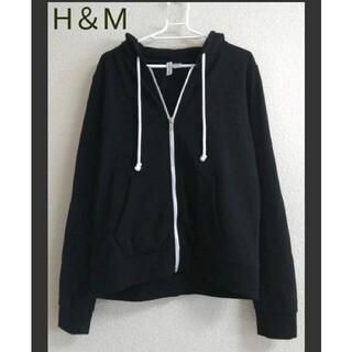 H&M - H&M  スウェットジップアップパーカー ブラック