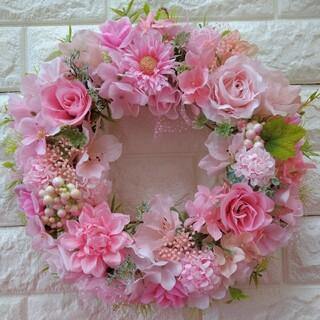 【18】フラワーリース 玄関リース 造花リース