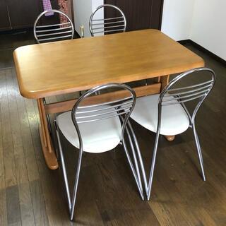 ダイニングテーブルと椅子4脚の5点セット 奈良県 直接引取歓迎(ダイニングテーブル)